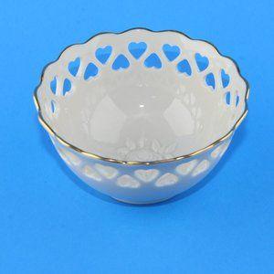 Lenox Heart Edge Trinket Dish Bowl